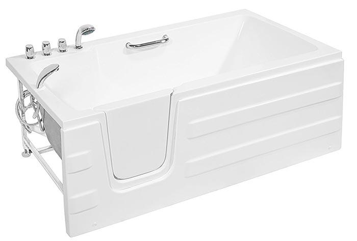 stepping into a bathtub for seniors